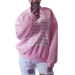 Sweat-shirts En Gros Femme Rose Pas Cher-Vente en gros - Outlet Fashion Women Pink Fleeced Thick Warm Hoodies Pullovers 800 Hotline Bling Winter Sweatshirts