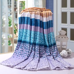 Portable Beds Adults Canada - Solstlce Beddings High Quality Fashion Striped Blanket Adult Bedding Single Bed Double Bed Cover Bedspreads Blankets 180X200CM