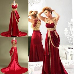 Shiny Dress Photos Canada - Arabic Prom Dresses Red Satin Sweetheart Real Photos Shiny Gold Luxury Crystals Beaded Long Formal Fancy Evening Gowns Court Train Ruffled