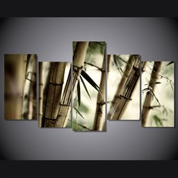 canvas prints free shipping Australia - 5 Pcs Set Framed Printed Bamboo Landscape Painting on canvas room decoration print poster picture canvas Free shipping ny-4971