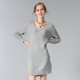 2b7324e686 Vestidos de invierno Para Mujer Sólido Gris Rojo Vestido blanco Ropa de  mujer Oficina de manga larga 2017 Punto suelto Largo O-cuello suéter