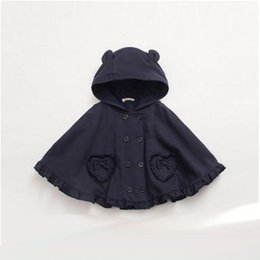 Oreilles Enfants Pas Cher-Filles châle Mode enfants oreilles stéréo Hoodies Ruffle ourlet Shawl Sweet Girls double-breasted Cape Autumn new children shawl