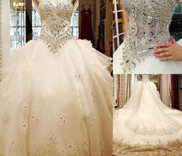 $enCountryForm.capitalKeyWord NZ - Bling Bling Luxury Crystal Cathedral Train Ball Gown Wedding Dresses with Strapless Sweetheart Lace Applique Tulle Long Bridal Gowns 2019