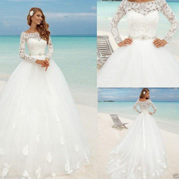 beach wedding dresses floral Canada - Beautiful Beach Long Sleeve Ball Gown Wedding Dresses Boat Neck Lace Floral Fitted Beaded Sash Summer Bridal Cheap arabic Bohemian Country