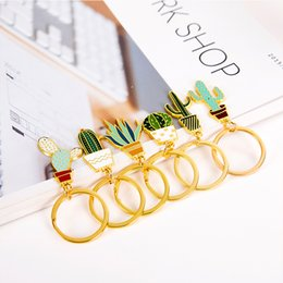 Digital Wallet NZ - Free DHL Creative Potted Cactus Style Keychains Wallet Bag Key Rings Hang Purse Phone Accessories Chain Metal Pendants Jewelry D328Q Y