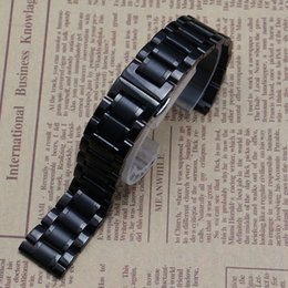 Stainless Push Button Canada - replacement common accessories Black metal Stainless steel watchband straps Bracelet 14mm 16mm 18mm 20mm 22mm butterfly buckle deploymnet