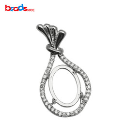 Oval Pendant Settings Silver Canada - 2017 HOT 925 sterling silver pendant setting, fit 9x13mm oval stone, hole: 5x3mm, sold by PC, ID 34066