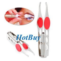 Pince à sourcils LED Mini Light Retrait des cils Pince à épiler Make Up Beauty Tool # 3866