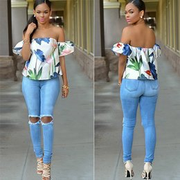 Discount high waist destroyed jeans - Women Skinny High Waist Jeans Ladies Destroyed Ripped Denim Jeans Leggings Spring Summer Blue Jean Casual Pants BSF0328
