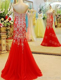 Robe De Bal Rouge Sequin Sweetheart Pas Cher-Mode Red Robes de bal 2015 Décolleté Bling Bling Paillettes perles de cristal Mermaid Backless tribunal train robes de soirée Dhyz 01