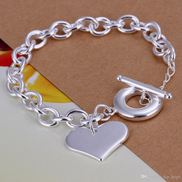 $enCountryForm.capitalKeyWord NZ - Heart Charms Rolo Chain Bracelets & Bangle 925 Sterling Silver Jewelry Silver Plated Curb-chain Link Toggle-clasps Bracelet Gift for Lovers