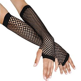 Barato Fantasia De Vestido Preto Longo Gótico-Venda por atacado - 2017 Elegante delicado Long Black Fishnet Gloves Womens Fingerless Gloves Girls Dance Gothic Punk Rock Costume Fancy Dress Party
