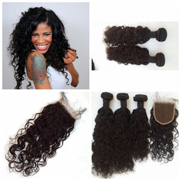 natural way hair extensions NZ - 4Pcs Lot Cheap Brazilian Human Hair 3 Way Part Lace Top Closure with 3 Bundles water wave Unprocessed Hair Weave Extensions Hairpiece G-EASY
