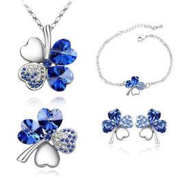 $enCountryForm.capitalKeyWord Canada - Gift Crystal Necklace Earrings Bracelet Brooch 4 Leaf Clover Jewelry Flower Sets Women Silver Plate Crystals From Swarovski