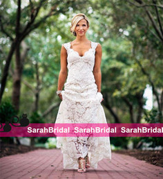 $enCountryForm.capitalKeyWord Canada - 2019 Chic Rustic Full Lace Wedding Dresses Cheap V Neck Hollow Back Long Sweep Train Boho Garden Bridal Gown Custom Made Country Style New