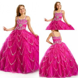 pretty pageant dresses for kids NZ - Sugar Fuschia Beaded Girl's Pageant Dress Princess Ball Gown Party Cupcake Prom Dress For Young Short Girl Pretty Dress For Little Kid