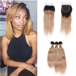 honey blonde lace closure NZ - Two Tone Honey Blonde Hair With Lace Closure #27 Ombre Human Hair Wefts With Closure Strawberry Blonde Indian Virgin Hair Bundles 4pcs lot