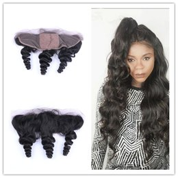 silk base frontals UK - 9A Brazilian Loose Wave Human Hair Ear To Ear Lace Frontals Silk Base 4x4'' Free Middle 3 Part Lace Frontal Closure Silk Base