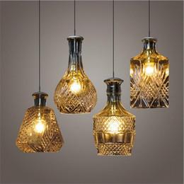 Modern Minimalist Vintage Wine Bottle Pendant Lights CafeRoom Bar Lamp Single Glass Lamps Decoration Indoor Lighting E27