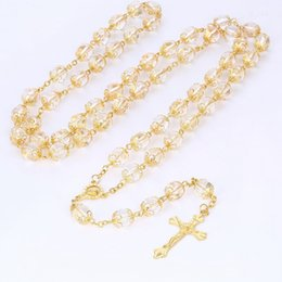 rosary cross pendant charms NZ - 20 Inches Gold Cross Pendant Rosary Necklace High Quality 10mm Transparent Acrylic Beads Necklaces With Virgin Mary Charm Pendant Jewelry
