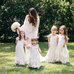 cheap dresses for first communion 2019 - Lovely Boho Flower Girl Dresses For Weddings With Lace Cap Sleeves Layered Ruffles Kids Pageant First Communion Gowns Ch