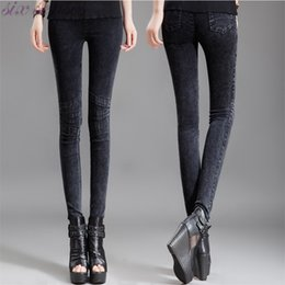 Barato Calças Jeans Apertadas Mulheres Negras-Atacado- 100% Brand New Women Skinny Pencil Jeans Female Stretch Black Low Cintura Jeans Jeans Slim Fit Plus Size M / L / XL / XXL / 3XL / 4XL SJ0188