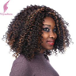 Discount hair highlights curly 2018 curly brown hair highlights highlight hair yiyaobess 40cm dark brown hair highlights on medium long curly wigs for black women heat resistant synthetic afro wig discount hair pmusecretfo Choice Image