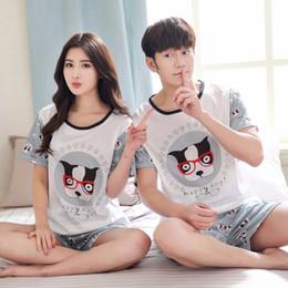 ee6fc42bac Wholesale- New Summer Spring Autumn Lovers Short-sleeved Pajamas Cartoon Couple  Cute Sweet Pajamas Sets Sleepwear Nightwear Home Clothes