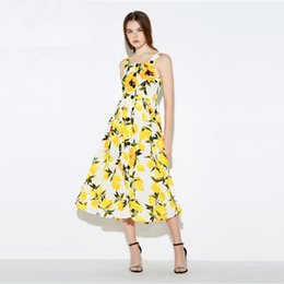 $enCountryForm.capitalKeyWord Canada - 2016 brand new arrival fashion lemon floral print dress without sleeves sheathed women dresses summer high quality