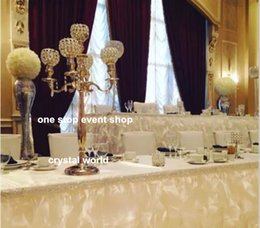 wholesale candelabras for weddings Canada - wedding Crystal candelabra centerpieces ,gold iron crystal candelabra for wedding decorations,walk way stand decorations