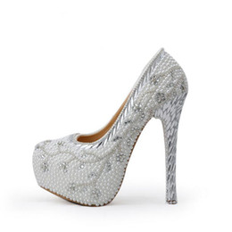 $enCountryForm.capitalKeyWord UK - 2019 Crystal Heel Wedding Shoes White Pearl Handmade Bridal Shoes Luxurious Rhinestone Women High Heels Platform Pumps Plus Size