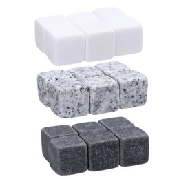 Wholesale 6pc Natural Whiskey Stones Sipping Ice Cube Whisky Stone Rock Cooler Christmas Bar Accessories 2017 newest WHISKY ICE CLUB DHL Fedex free