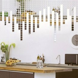 Mosaic Bathroom Designs Canada - 100pcs lot Amazing Mosaic Mirror Wall Sticker Silver Gold 3D Square Effect TV Wall Living Room Home Decor DIY