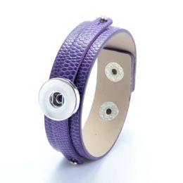 $enCountryForm.capitalKeyWord UK - New Brilliant Candy Colors NOOSA Leather Bracelets Simple Design Fit DIY 18MM Snap Buttons Interchangable Snap Button Charm Jewelry ZY001