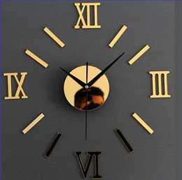 Discount roman wall clock - Roman numeral clock   clocks   Modern living room mute creative diy wall stickers acrylic wall clock