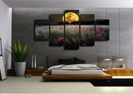 canvas prints free shipping NZ - 5 Pcs Set Framed Printed Moonlight flowers Painting Canvas Print room decor print poster picture canvas Free shipping ny-5002
