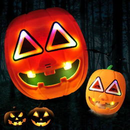 China 2016 Popular Halloween Performing props animated cartoon light Glowing pumpkin mask Terrorist pumpkin 22CM Luminous toy suppliers