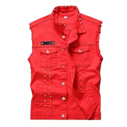 Barato Do Punk Roupas De Rocha Masculino-Newsosoo Red Black White Rivet Denim Vest Men Punk Slim Fit Coats Masculino Vaqueiro Waistcoat Man Sem mangas Rock Jean Jacket Vestuário