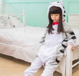 cat cosplay pyjamas UK - Flannel Pyjamas Kids Onesie Cartoon Cosplay Cheese Cat Girls Christmas Children's Pajamas Long sleeve Boys Sleepwear Animal KD-018