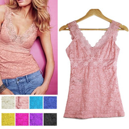 $enCountryForm.capitalKeyWord Canada - Wholesale-Cheap&High Quality Women Sexy Lace Floral T-shirt Tank Tops Sleeveless Stretch Crochet Vest Blouse Free Shipping