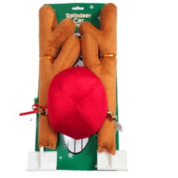 Reindeer Nose Canada - Christmas Reindeer Antlers Red Nose Car decoration set With Christmas Bells New Reindeer Antlers Car Costume Horn for all vehicls cars HOT