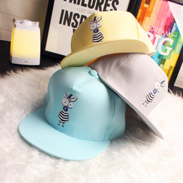 Chapeaux Snapback Design Mignon Pas Cher-Candy Color Cute Zebra Design Unisex Baseball Caps Hot Selling Cartoon Big Eyes Zebra Hip Hop Snapback Hat