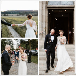 Wedding Dresses Sheer Jacket Canada - Sarah Seven Vintage Lace Chiffon Country 2019 Wedding Dresses Bridal Gowns with Lace Jacket Long Sleeves Rustic Boho Wedding Gowns