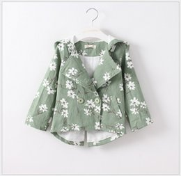 Girl Grey Jacket Coat Canada - 2016 Autumn Winter New Fashion Girl Floral Printing Coats Baby Girls Double Breasted Hooded Jackets Children Princess Windbreaker Outwear
