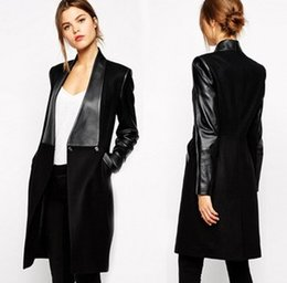 Appliques De Vêtements Pas Cher-NOUVEAU FEMME DE LA LAINE NOIRE COAT FASHION PETAL EDGES SLIM JACKET Vêtements d'extérieur Trench Manteaux Habillement