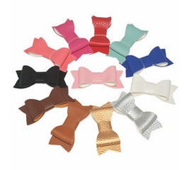 Barato Crianças, Cabelo, Grampos, Toddler-Baby Girls Pu Leather Bow Hair Clips Hairpins tamanho 7 * 3CM Sweet Toddler Kids Candy Color Moda Party Hair Acessórios 12 cores T0045