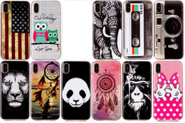 panda camera Canada - USA Flag Soft TPU IMD Case For Iphone X 8 7 6 6s Plus Panda Dreamcatcher Bowknot Hand Lion Owl Elephant CD Camera Feather Cartoon Gel Cover