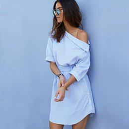 $enCountryForm.capitalKeyWord NZ - Women Fashion One Shoulder Blue Striped Female Dress Sexy Side Split Elegant Half Sleeve Waistband OL Girls Beach Dresses