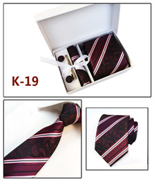 $enCountryForm.capitalKeyWord Canada - Fashion Neck tie set handkerchief Cufflink Necktie clips Gift box 20 colors for Father's Day Men's business tie Christmas gift free ship