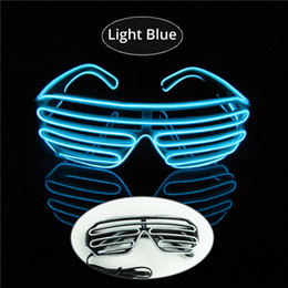 $enCountryForm.capitalKeyWord NZ - Light Blue Color EL Glasses Fashionable Neon LED Light Glowing Sunglasses EL Wire Rave Costume Party DJ Multiple Colors Black Frame
